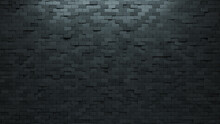 Concrete, Futuristic Wall Background With Tiles. Polished, Tile Wallpaper With Rectangle, 3D Blocks. 3D Render