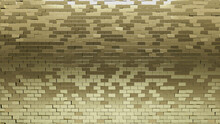 Gold, Rectangle Mosaic Tiles Arranged In The Shape Of A Wall. Polished, Glossy, Bullion Stacked To Create A 3D Block Background. 3D Render