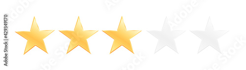 Fotografia Three stars customer product rating review flat icon for apps and websites