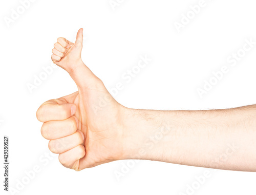 Obraz na plátně Weird thumb up of man`s hand isolated on white background with clipping path