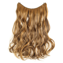 Single Piece Elastic String Tied Wavy Black Mixed Brown Synthetic Hair Extensions