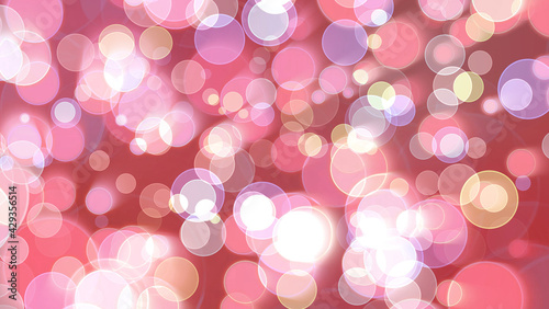 Fotografie, Obraz Colorful red light tone bubble divine dimension bokeh blur absract