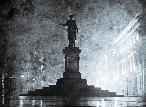 Leinwand Poster Duc de Richelieu statue in Ukraine, Odessa