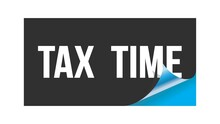 TAX  TIME Text Written On Black Blue Sticker.