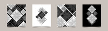 Set Of Modern Elegant Cards With Black And White Geometric Patterns. Vector Template For Interior, Cover, Business Card, Labels