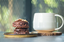 Scone Chocolate Served With Hot Tea