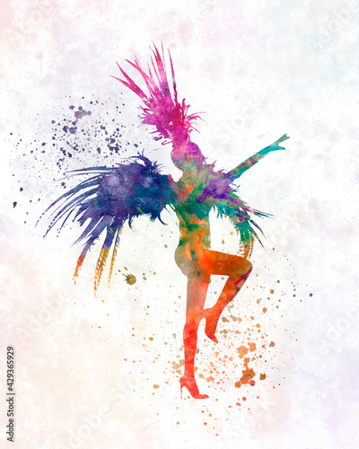 Slika na platnu Watercolor cabaret carnival dancer