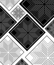Vector Elegant Background With Black And White Rhombuses. Modern Template For Interior, Cover, Business Card, Labels.