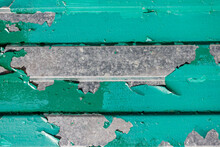 Metal Wall With Old Green Rusty Paint