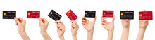 Hand Holding Mockup Credit Card, Gesture Collection Isolated On White Background. Modern Design With Clipping Path.