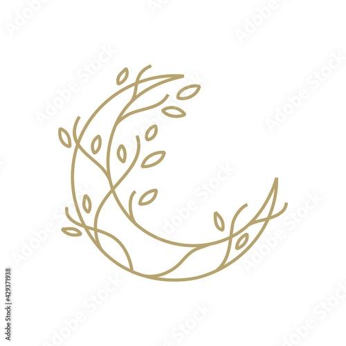 Fotografie, Obraz moon tree crescent root leaf outline gold logo vector icon illustration