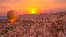 Hot Air Balloon Flying Over Spectacular Cappadocia - Goreme, Turkey