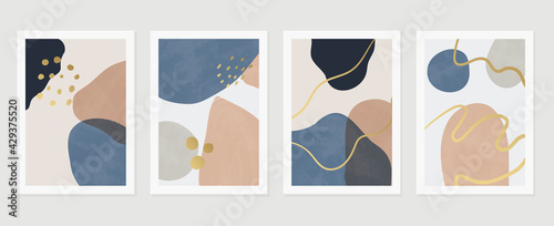 Abstract art background vector. Gold brush line arts. Modern organic shape wallpaper.  Minimalist hand painted illustrations with watercolor stain texture for home deco, wall art print and cover.