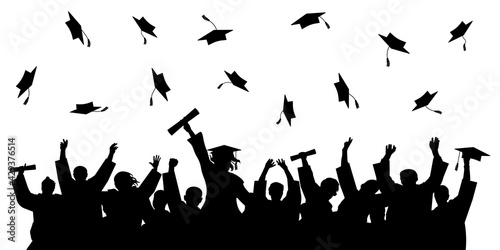 Fotografering Cheerful graduate students with diploma, throwing academic caps, silhouette