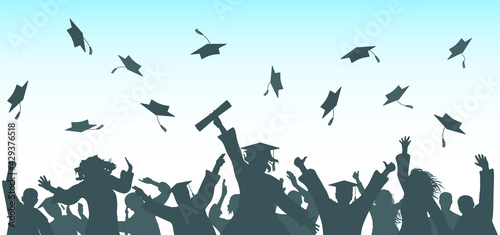 Graduation. Cheerful graduate students throwing academic caps, silhouette. Crowd of people. Vector illustration. - fototapety na wymiar