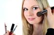 canvas print picture - gfrau, schminken, geschminkt makeup, pinsel, augen, portrait, schoenheit, blond, haare
