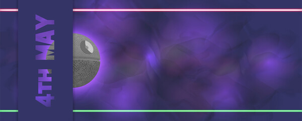 Futuristic purple flyer 4th May Geeks Day Muddy wavy background laser beams Half 3d space station