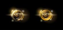 Golden Nft Token Set With Glitter Effect. Non Fungible Tokens. Vector Illustration Design.