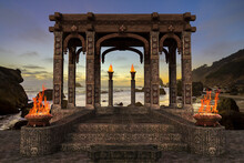 3D Rendering And Photo Composite Of A Fantasy Temple By The Sea At Sunset.