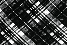 Grunge Texture Of Natural Coarse Fabric In A Diagonal Check. Vector Illustration. Overlay Template