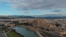 Palma De Mallorca Cityscape. Cathedral La Seu Of Santa Maria Royal Palace Of La Almudaina, Old Architecture Drone Top Point Of View, Sunny Day. Travel, Landmark, Famous Place. Balearic Islands. Spain
