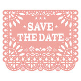 Fototapeta Kuchnia - Save the date Papel Picado vector party banner design, Mexican cut out paper decoration with flowers, stars, and geometric shapes