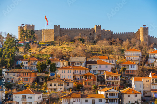 OHRID, NORTH MACEDONIA: The Old Fortress of King Samuel or Samuel's Stronghold in Ohrid, a UNESCO World Heritage Site - fototapety na wymiar