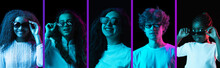 Five Young Male And Female Models Isolated On Dack Background In Neon Light