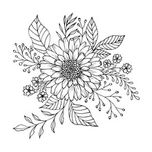 Cute Flower And Leaf Arrangement With Berries.  Flowers And Leaves Retro Engraving. Floral Greeting Card Background.
