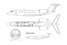 Outline Private Airplane Bluteprint. Side And Top View Of Business Plane. Plane Seats Map. Drawing Of Commercial Aircraft Interior. Luxury Jet Industrial Scheme. Passenger Plan