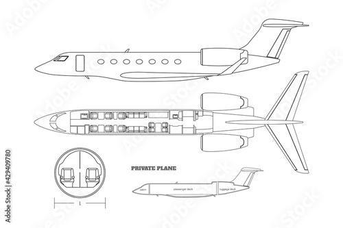Stampa su Tela Outline private airplane bluteprint