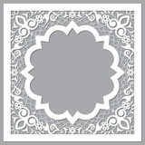 Fototapeta Kuchnia - Moroccan carved style openwork vector arabic frame or border design with flowers and leaves - perfect for greeting card or wedding invitation in white and gray