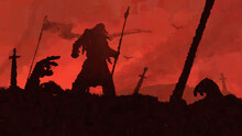The Battle Is Over. Defeated Warriors Surround The Last Surviving Viking, Standing With A Spear Against The Bloody Sky. The Weapon Is Stuck In The Ground. Smoke Rises Into The Sky. 2D Illustration.