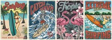 Surfing Vintage Colorful Posters Set