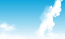 Blue Sky With Slanting White Cloud, Vector Art Illustration.