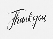 Thank You. Hand Written Lettering Isolated On White Background. Water Color Style On White Paper.