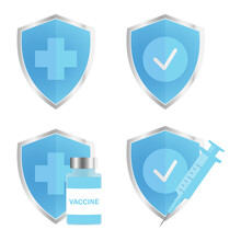 Antimicrobial, Resistant Badge, Symbol Of Protection. Blue, Glossy Shield With Silver Trim. Medical Disposable Syringe, Vaccine Vial And Shield. Injection Tool For Covid-19 Immunization Treatment