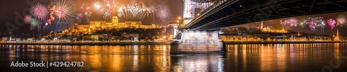 Fotografia, Obraz Fireworks display at the Royal palace of Buda and the Chain Bridge in Budapest,