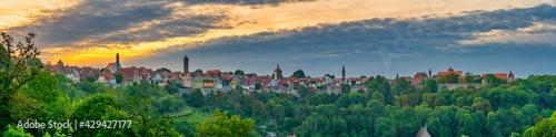 Fototapeta Skyline panorama of Rothenburg ob der Tauber at sunrise. Germany obraz