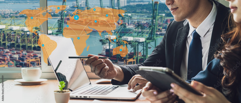 Fotografie, Obraz Banner photo of global logistics network business connection concept and smart A