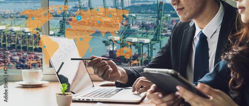Obraz na plátně Banner photo of global logistics network business connection concept and smart A
