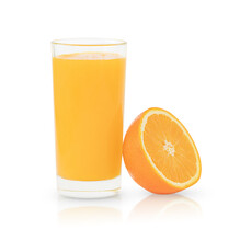 The Glass Of Orange Juice And Half Of Orange Isolated On The White Background