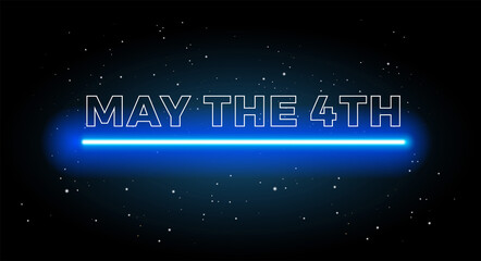 May the 4th abstract space background with shining blue light and black starry sky - vector