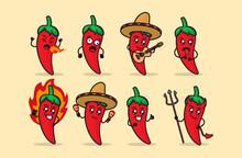 Set Of Cute Hot Chili Mascot Design Illustration