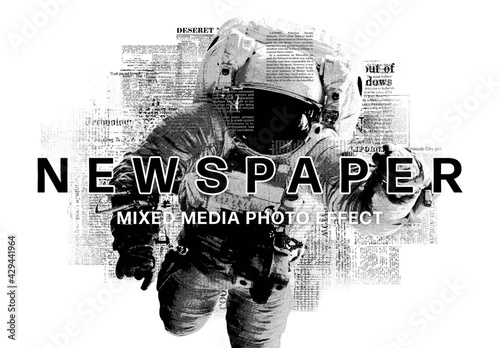 Fototapeta Newspaper Mixed Media Photo Effect Mockup obraz