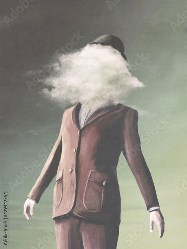 Fototapeta man's portrait illustration, head in the clouds, abstract surreal concept obraz