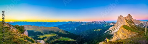Majestic sunrise panorama of Seceda peak in Dolomites Alps, South Tyrol, Italy, Europe - fototapety na wymiar