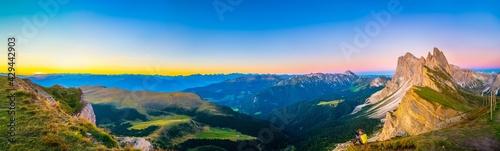 Majestic sunrise panorama of Seceda peak in Dolomites Alps, South Tyrol, Italy, Europe - fototapety na wymiar