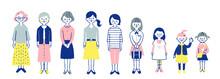 いろいろな世代の女性 全身