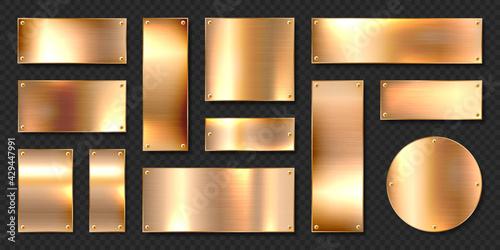 Canvas Print Realistic shiny metal banners set